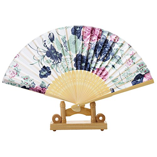 vvljproducts Beautiful Folding Bamboo Hand Fan With Wooden Base Vintage Flower Pattern Handheld Women's Accessory Home Office Decor