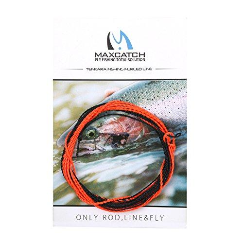 M MAXIMUMCATCH Maxcatch Tenkara Tapered Fly Fishing Line Braided Furled Line 12/13ft (Orange/Black, 13ft)
