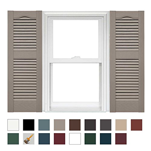 Mid America Cathedral Open Louver Vinyl Standard Shutter - 1 Pair 14.5 x 72 008 Clay ()