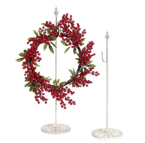 DARICE Standing Metal Wreath Hanger - Antique White - 30 ...