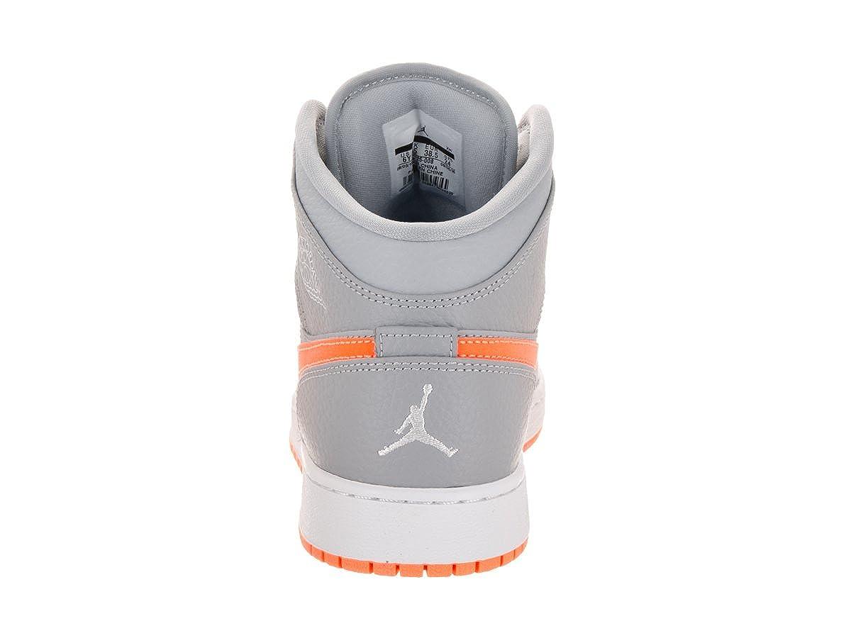 c5f586e74c0c Nike Jordan Kids Air Jordan 1 Mid Bg Wolf Grey Bright Citrus White  Basketball Shoe 4 Kids US  Amazon.co.uk  Shoes   Bags