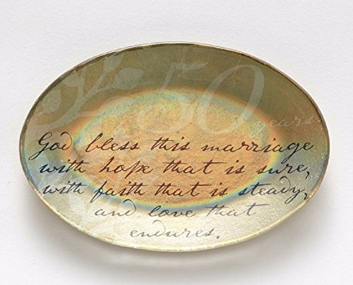 Enesco This is the Day by Gregg Gift 50th Anniversary Glass Plate, (50th Anniversary Keepsake Plate)