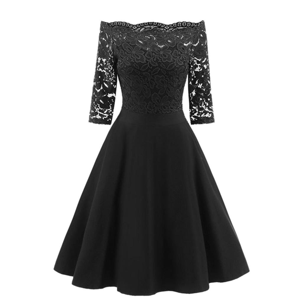 Women Slash Neck Swing Dress New Vintage Half Sleeves Off Shoulder Lace Patchwork Cocktail Party Retro Dress (XXL, Black)