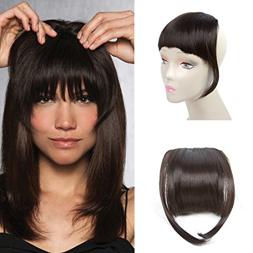 Hair Bangs Clip - Liyate New Fashion Straight Hair Bangs Clip in Hair Extensions 1 piece (2 clips) Synthetic Hair (clip bangs, Black Brown)