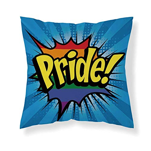 YOLIYANA Pride Decorations Comfortable Throw Pillow,Cartoon Style Pop Art Elements Pride Blast Boom Comic Vintage Typography for Home Office