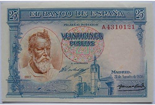 Billete 25 Pesetas (Joaquín Sorolla) - España 1936: Amazon.es: Hogar
