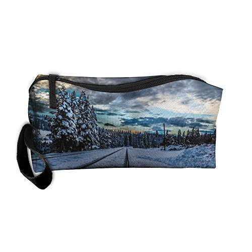 Kla Ju Portable Pencil Bag Purse Pouch Winter Forest Railroad Stationery Storage Organizer Cosmetic Holder