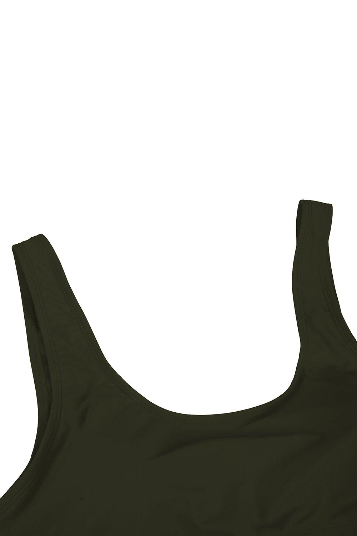 KAKALOT Women's Sexy Scoop Neck Crop Top with High Cut Bikini Bottom Sets Beachwear L Army Green by KAKALOT (Image #6)