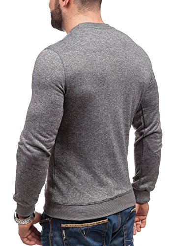 BOLF Hombre Muy Cómodo Sudadera Con Deco Cuello Camisa de Material Sólido GLO STORY 9037 Antracita