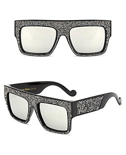 con Gray Clear de Silver Dim Dim tamaño sol Gafas estrellas Silver hombre unisex para Aprigy de diseño de gran xZIwOq5na