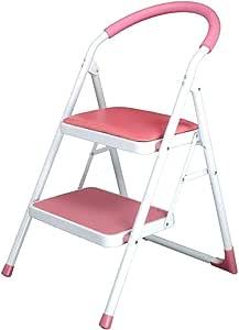 Escalera Plegable multifunción portátil Taburete Escaleras Interior Ascender Cojín Suave Cocina Pedal Cocina 2 Pasos, Hierro, 3 Colores, 47x52x82C (Color : Pink, Tamaño : 47x52x82CM): Amazon.es: Electrónica