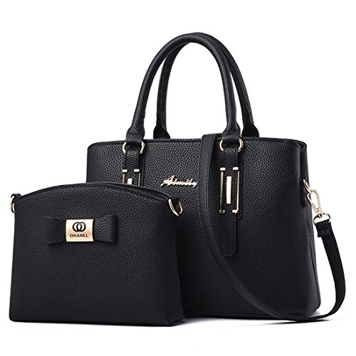 2 pezzi nera Set Luckywe Borsa Borsa Handbag tracolla pelle Borsa a Portafoglio Lady Hobo mano Classic Womens a in xw00fq8zC