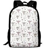 Arrows Feathers Cow Skulls Athletic Tube Stockings.png School Rucksack College Bookbag Unisex Travel Backpack Laptop Bag