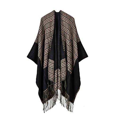 (Bakerdani Women Fashionable Retro Style Tassel Poncho Shawl Cape Cardigans)