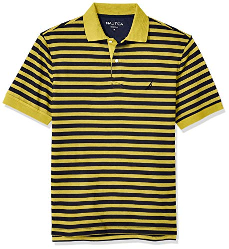 Nautica Men's Classic Fit 100% Cotton Soft Short Sleeve Stripe Polo Shirt, Mustard Field, Small