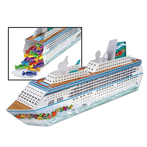 """Club Pack of 12 Nautical White 3-Dimensional Cruise Ship Decorative Party Centerpieces 13.25"""""""