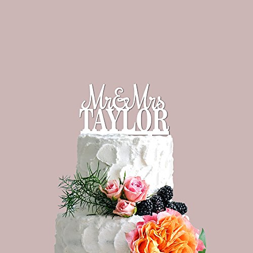 P Lab Personalized Cake Topper Mr. Mrs. Last Name Custom Wedding Cake Topper Acrylic Decoration for Special Event White by Personalization Lab
