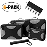 TrebleWind 6 Set Packing Cubes-Luggage Packing Travel Organizers with Laundry Bag and Clothes Hanger(Black)