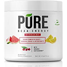 PURE BCAA ENERGY All Natural VEGAN BCAA's+Organic Energy, Phytonutrients and Antioxidants Fuels+Revitalizes Muscle Pre-workout or Post-workout - Instantized for Faster Muscle Absorption and Recovery!