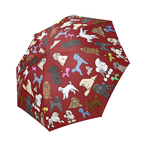 Artsadd Fashion Umbrella Poodle Umbrela Burgandy Foldable Sun Rain Travel (Poodle Umbrella)