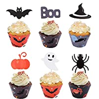 Gtlzlz 24Pcs Halloween Cupcake Toppers Wrappers for Halloween Party Decorations Supplies