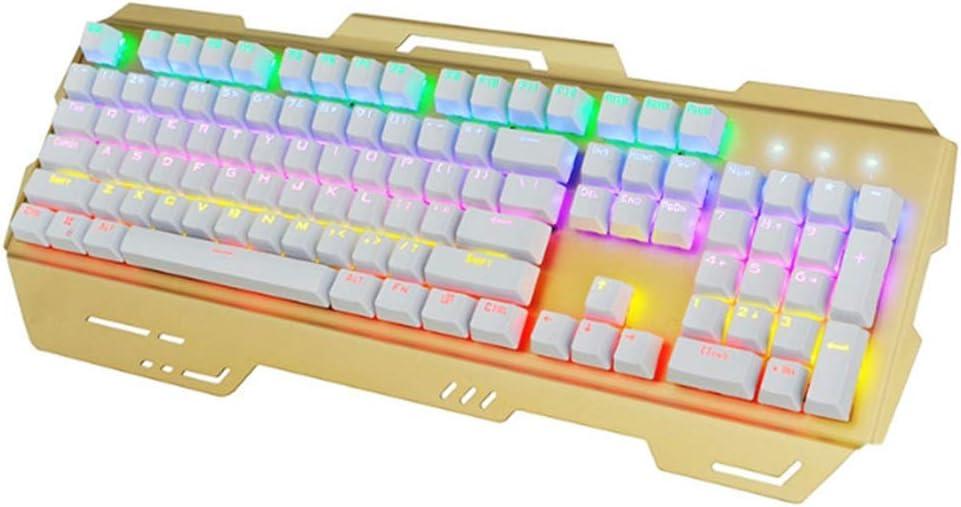 Bbhhyy Clavier d\'ordinateur, Jeux Clavier sans Fil, métal Câble Disque Jeu Axe Vert dédié, avec la Souris Tactile Fonction, résistant à l\'usure, Facile à Utiliser (Color : A) B