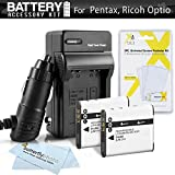 2 Pack Battery And Charger Kit For Pentax Optio WG-2, WG-3, WG-3 GPS, Ricoh WG-4 GPS, WG-4, WG-30, WG-30W, WG-5 GPS Waterproof Digital Camera Includes 2 Replacement D-LI92 Batteries + Charger + More