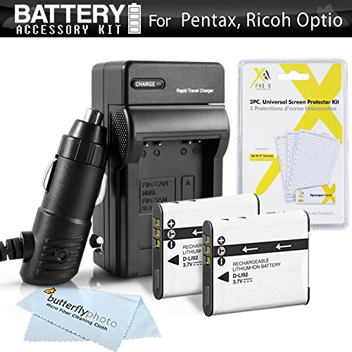 2 Pack Battery And Charger Kit For Pentax Optio WG-1, WG-2, WG-3, WG-3 GPS Waterproof Digital Camera Includes 2 Extended (1000Mah) Replacement D-LI92 Batteries + Ac/Dc Rapid Travel Charger + LCD Screen Protectors + MicroFiber Cleaning Cloth Pentax Optio