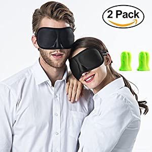 3D Sleep Masks with Ear Plugs [2 Packs] Light Blocking Blindfold Cover Sleeping Mask Eyeshades Blinder, Travel Eye Mask with 4 Soft Ear Plugs, Lightweight Comfortable Have A Nice Dream