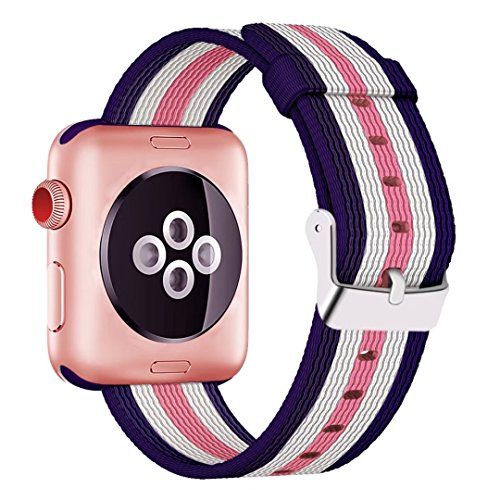 INTENY Woven Nylon Fabric Wrist Strap Replacement Band with Classic Square Stainless Steel Buckle Compatible for Apple iWatch Series 1/2/3,Sport & Edition,38mm,Lightpink White Darkblue Stripes