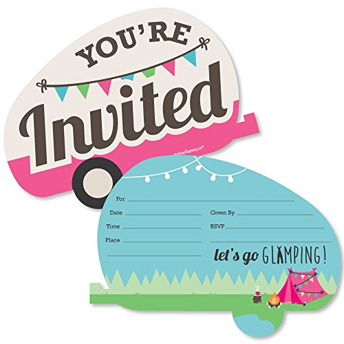 Lets Go Glamping - Shaped Fill-in Invitations - Camp Glamp Party or Birthday Party Invitation Cards with Envelopes - Set of 12