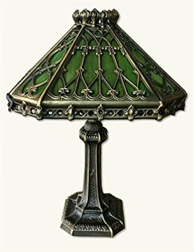 (Victorian Trading Co Enchanted Gothic Green Stained Glass Desk Lamp 12