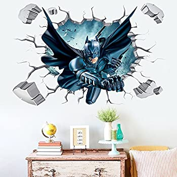 Batman Through Wall Stickers With Decor Decal Art Removable Vinyl Home Art  Decor For Kids Nursery Bedroom