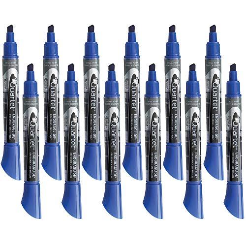 Quartet Dry Erase Markers, Whiteboard Markers, Chisel Tip, EnduraGlide, BOLD COLOR, Blue, 12 Pack - Blue Chisel Tip