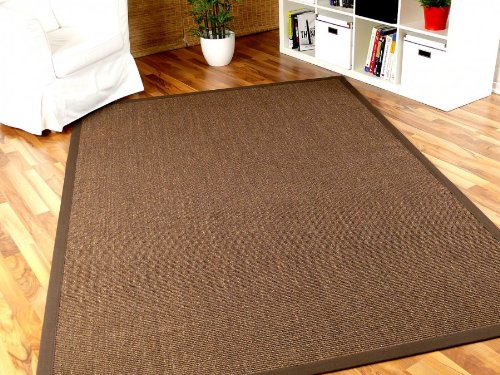 Sisal Astra Natur Teppich Dunkelbraun Bordüre Dunkelbraun in 16 Größen