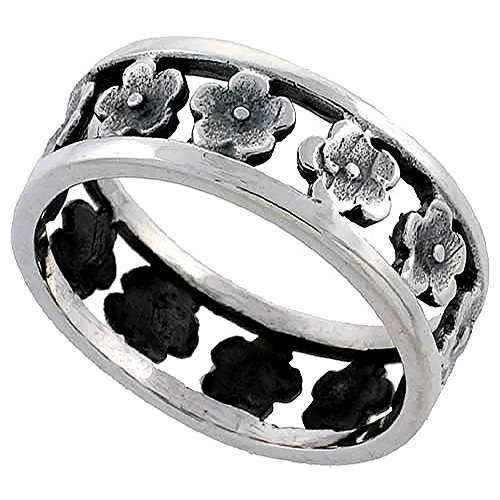 Sterling Silver Hibiscus Flowers Ring for Women 5/16 inch size 6.5