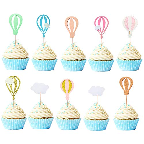 JeVenis Pack of 30 Hot Air Balloon Cupcake Topper Cloud Cupcake Topper Hot Air Balloon Cake Toppers For Birthday Party Baby Shower Decoration ()