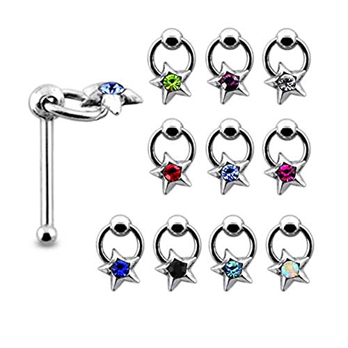 5 Pieces Mix Color Jeweled Star on Moving Ring Sterling Silver 22 Gauge Ball End Nose Pin ()
