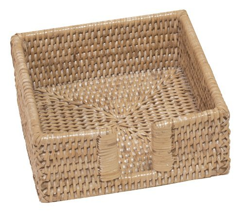 - Entertaining with Caspari Rattan Cocktail Napkin Holder, White