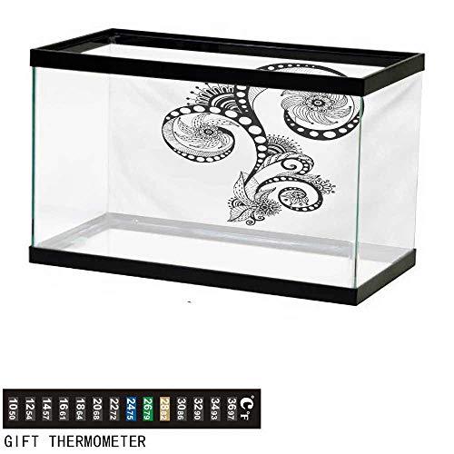 wwwhsl Aquarium Background,Henna,Mehndi Body Art Doodle in Black and White Abstract Floral Arrangement Illustration,Black White Fish Tank Backdrop 24
