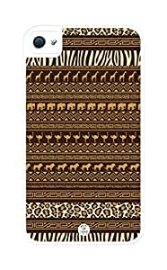 linJUN FENGiZERCASE Africa Pattern Rugged Premium iphone 4 case - Fits iphone 4, iphone 4S T-Mobile, AT&T, Sprint, Verizon and International (White)