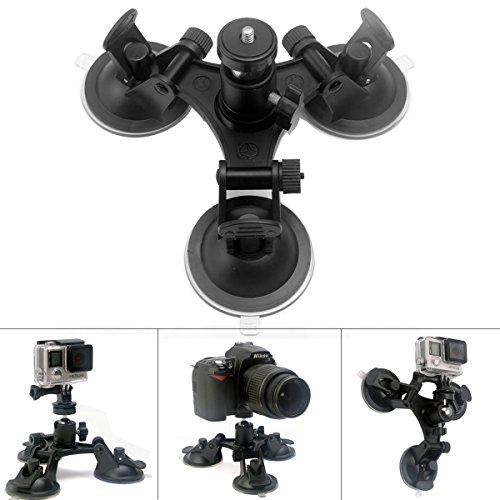 Fantaseal Tri-Cup DSLR Camera Suction Mount w/Ball Head for Nikon Canon Sony DSLR /Camcorder + GoPro Hero 5 /4/3 Sony Garmin TomTom Xiaomi Yi SJCAM Suction Cup Mount Car Mount Holder Window Mount