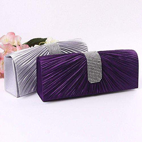 YYW Satin Clutch Bag - Cartera de mano para mujer plata