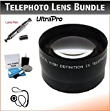 52mm Digital Pro Telephoto Lens Bundle For The Panasonic Lumix DMC-FZ150, FZ47, FZ48 Digital Cameras. Includes 2x Telephoto High Definition Lens, Lens Pen Cleaner, Cap Keeper, UltraPro Deluxe Cleaning Kit