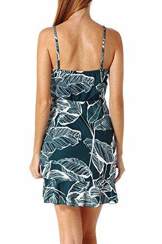 Strap Spaghetti Mini Dress Leaf Ruffles Hem Backless Summer Womens Dresses Green Print X1qSY