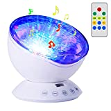 Ocean Wave Projector Night Light Aurora Lamp with Built-in Music Player and Remote Control 7 Colorful Light Modes for Kids Decoration (White)