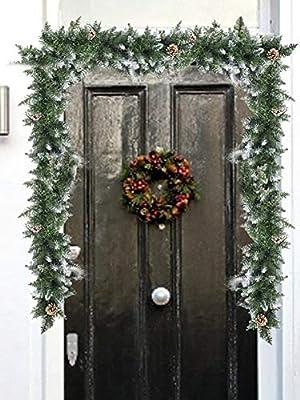 Meetforyou Ratán de Navidad 2020, Guirnalda de Navidad, Guirnalda de Conos de Pino de Navidad para chimeneas de Escalera, decoración de Puertas y Ventanas, 106.3in: Amazon.es: Hogar