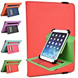 Kroo Amar 10.6, Azpen A1045 10.1-inch Rotating Cases | Fiesta Red/Green Flash TwoTone Portrait or Landscape Orientation 360 Stand Cover
