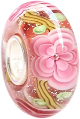 New Authentic 925 Sterling Silver Core Pink Looking  Murano Glass Bracelet Bead