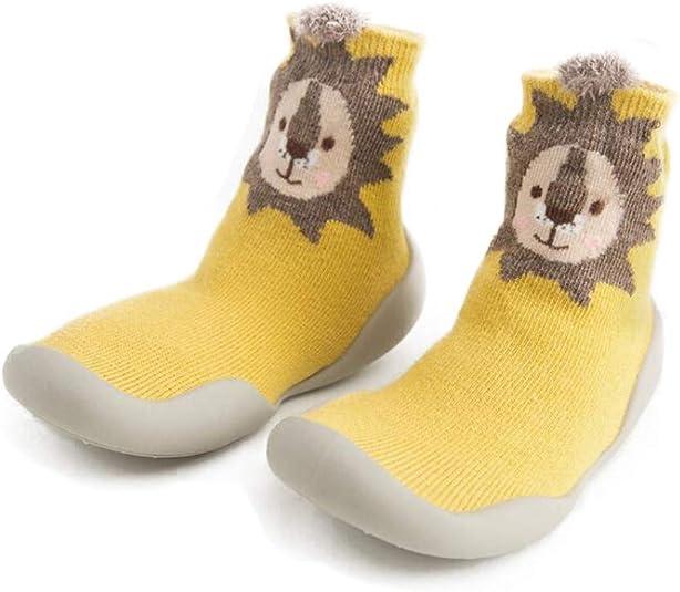 DEYOU 2Pairs//Set Baby Boy Girls First-Walking Shoes Anti-Skid Cute Socks Rubber Soft Bottom Baby Toddler Floor Indoor-Outdoor